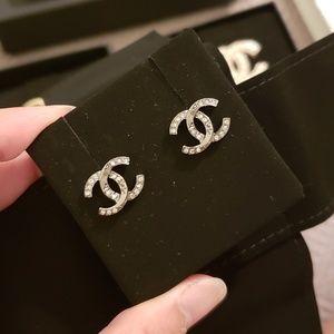 Chanel 18P Ruthenium Crystal CC Stud Earrings
